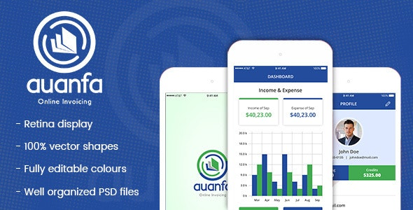 Auanfa - Mobile App PSD - Business Corporate