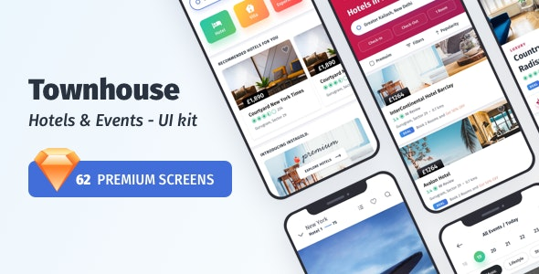 Townhouse Hotel Mobile App - UI-kit - Sketch Templates