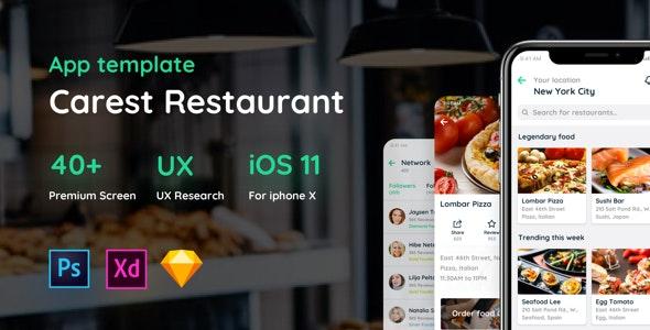 Carest - Restaurant UI Kit - Sketch UI Templates