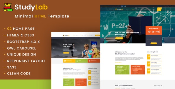 Studylab - Kid & Online Education HTML Template - Nonprofit Site Templates