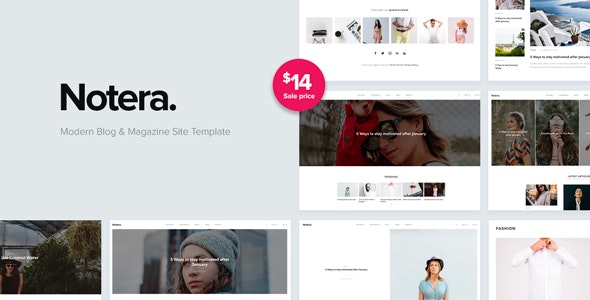 Notera – Modern Blog & Magazine HTML5 Site Template - Retail Site Templates