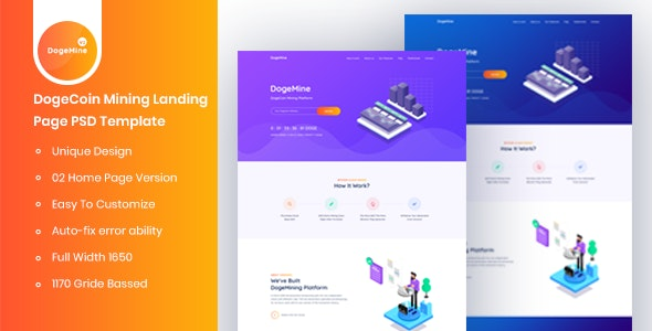 Dogemine - DogeCoin Mining Landing Page PSD Template - Business Corporate