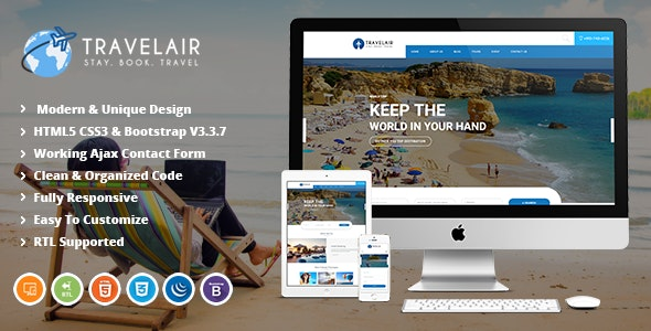 Travelair | Travel & Tour Booking HTML5 Template - Travel Retail