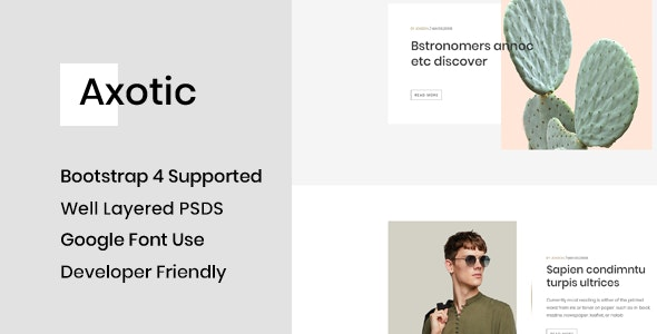 Axotic - Modern Blog PSD Template - Creative Photoshop
