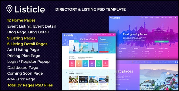 Listicle -  Directory & Listing PSD Template - Miscellaneous Photoshop