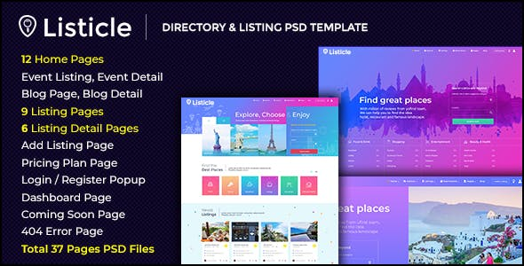 Listicle -  Directory & Listing PSD Template