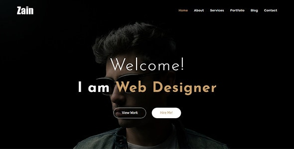 Zain - One Page Portfolio - Personal Site Templates