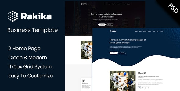 Rakika - One Page Business PSD Template - Creative Photoshop