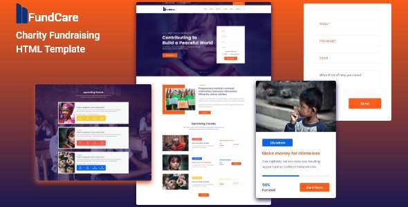 Charity and Nonprofit HTML Template - Fundcare - Nonprofit Site Templates
