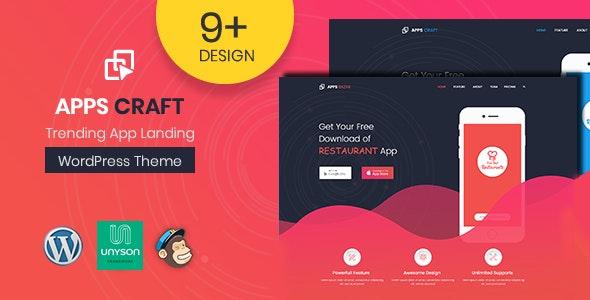 Apps Craft - App Landing Page WordPress Theme - Marketing Corporate