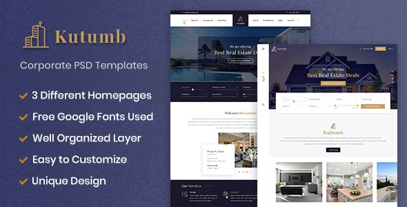 Kutumb - Real estate multipurpose PSD templates - Corporate Photoshop