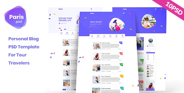 Paris - Personal Tour Travelers Blog PSD Template - Personal Photoshop