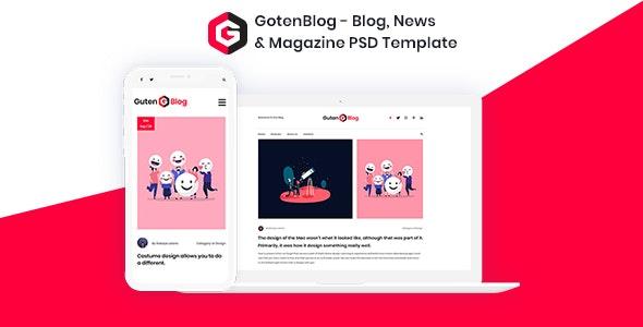 GotenBlog - Blog, News & Magazine PSD Template - Personal Photoshop