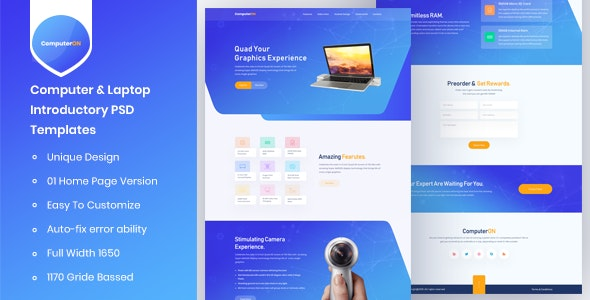 ComputerON - Computer & Laptop Introductory PSD Templates by