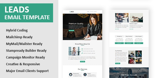 Leads - Multipurpose Responsive Email Template with Online StampReady & Mailchimp Editors - Newsletters Email Templates
