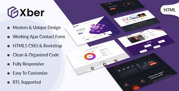 Xber – ICO Cryptocurrency & ICO Landing Page HTML Template