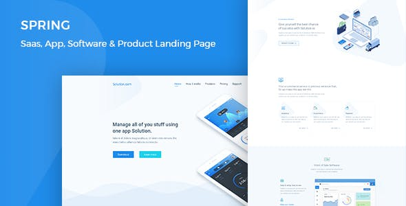 Spring – Software and App Landing WordPress Theme