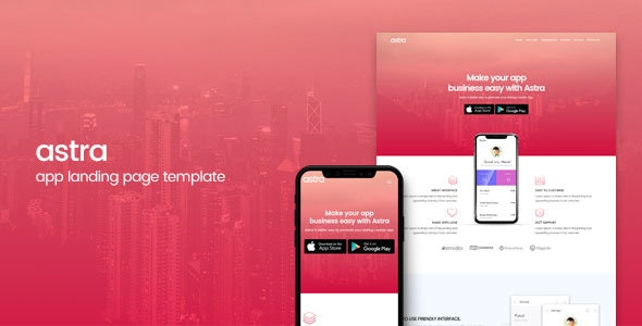Astra | App Landing Page Template - Apps Technology