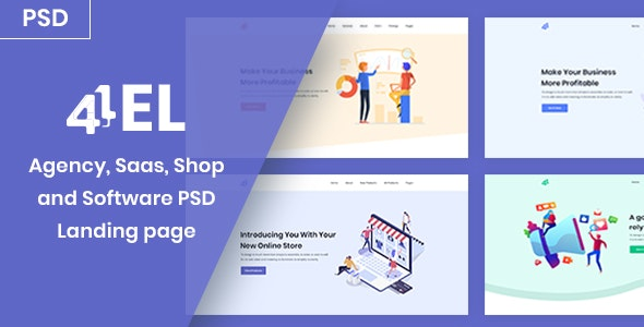 4EL - Agency, Saas, Shop and Software PSD Landing page - Creative PSD Templates