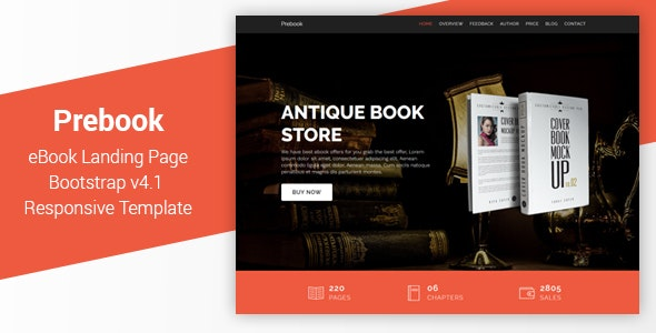 Prebook - eBook Landing Page Responsive Bootstrap 4 Template - Marketing Corporate