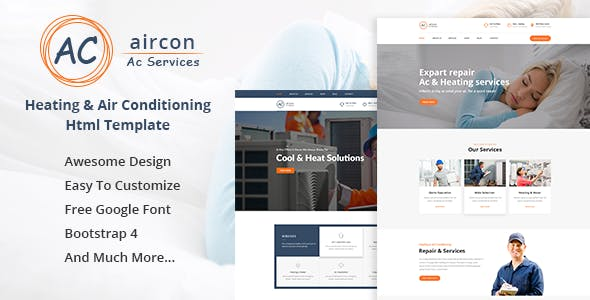 Aircon - Air Conditioning & Heating Bootstrap 4 Template