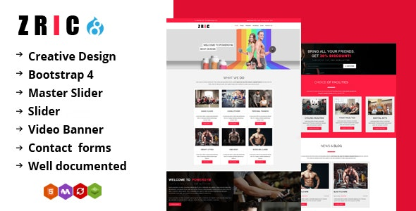 Zric - Fitness Multipages Drupal 8 Theme by drupalet