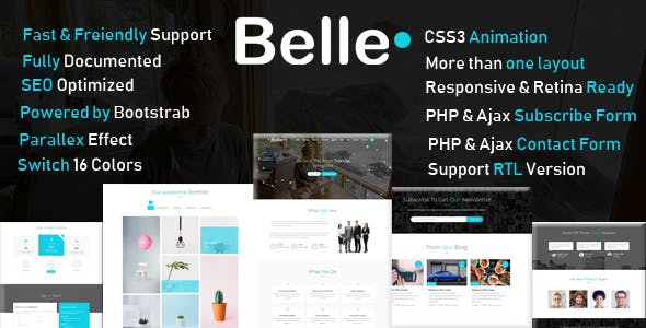 Belle One Page Html Template Rtl Business Corporate