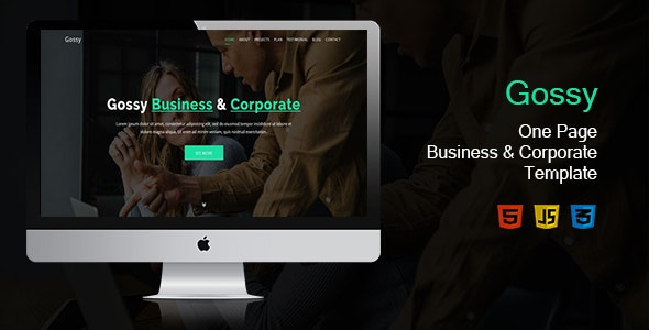 Gossy-One Page Business & Corporate Template - Corporate Site Templates