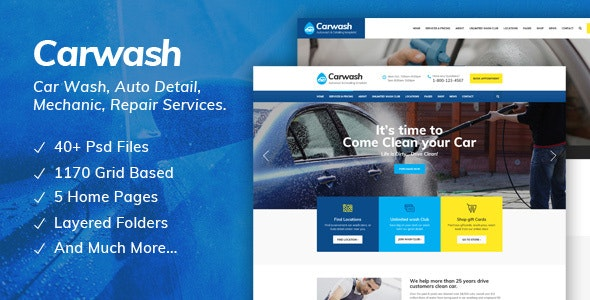 Car Wash - Auto Detail, Mechanic & Repair Services PSD Template - Business Corporate