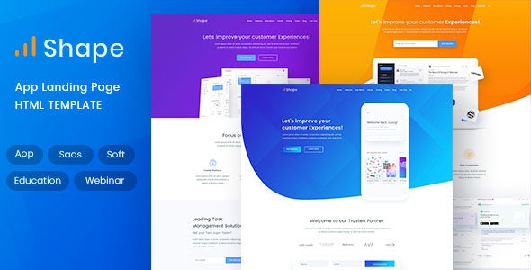 Shape app, SaaS, Product HTML5 Landing page Template - Marketing Corporate