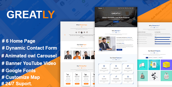 Greatly - The Multipurpose HTML5 Template - Corporate Site Templates