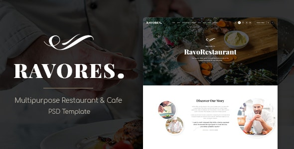 RavoRes - Multipurpose Restaurant & Cafe PSD Template - Restaurants & Cafes Entertainment