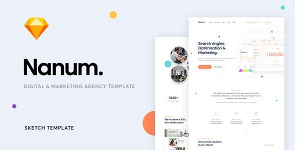 Nanum — A Digital & Marketing Agency Sketch Template - Sketch Templates