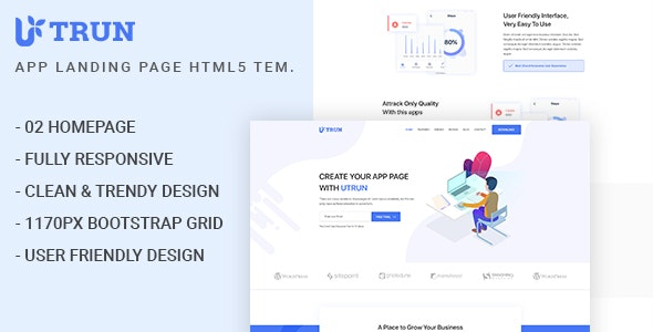 UTRUN - Software, App Landing page HTML5 Template - Software Technology