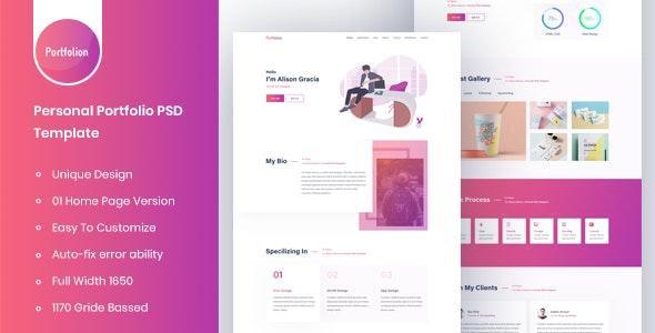 Portfolion - Personal Portfolio PSD Template - Portfolio Creative