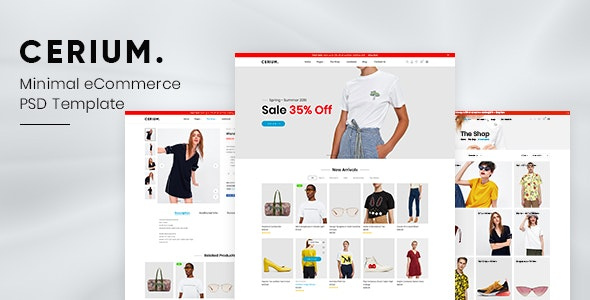 Cerium - Minimal eCommerce PSD Template - Fashion Retail