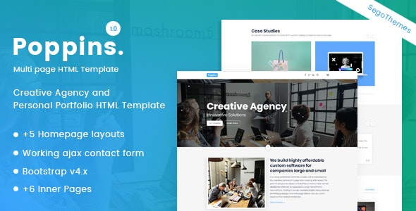 Poppins – Creative Agency & Portfolio Template - Creative Site Templates