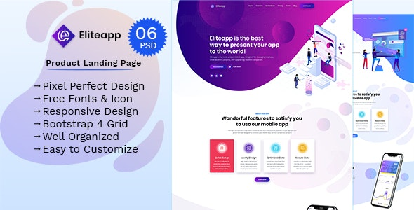 Eliteapp - App Landing Page - Technology PSD Templates