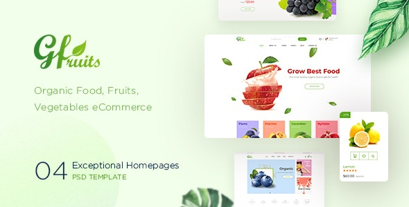 GFruits – Organic Food/Fruit/Vegetables eCommerce PSD Template - Retail Photoshop