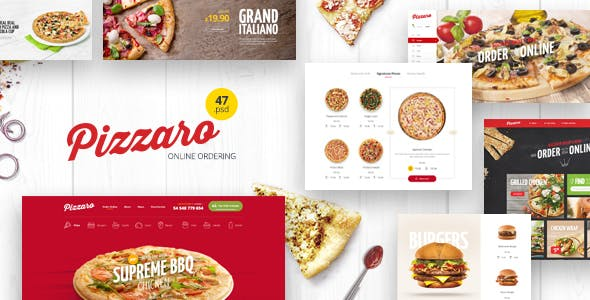 Pizzaro - Food Online Ordering eCommerce PSD