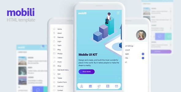 Mobili - HTML Mobile Template - Mobile Site Templates