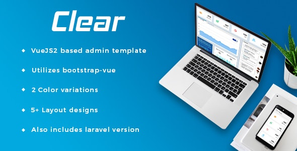 Clear - VueJS + Laravel Admin Template by jyostna | ThemeForest