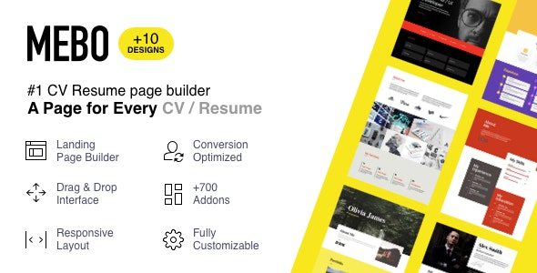 Mebo - CV Resume Portfolio Landing Page with Page Builder - Landing Pages Marketing
