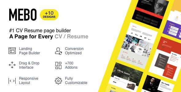 Mebo - CV Resume Portfolio Landing Page with Page Builder