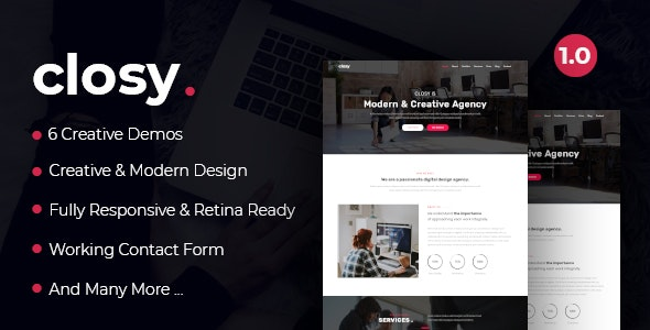 Closy - One Page Parallax - Creative Site Templates