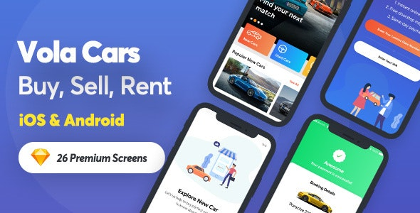 Vola Cars - New Car, Used Car, Sell Car and Rental Car Mobile UI Kit for sketch App - Sketch Templates