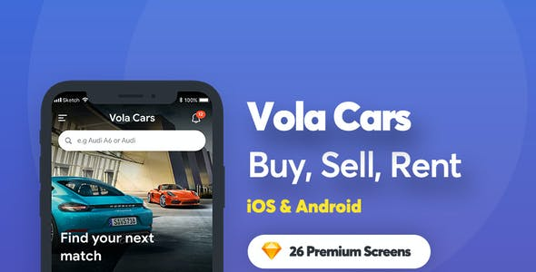 Vola Cars - Sell Car and Rental Car Mobile UI Kit