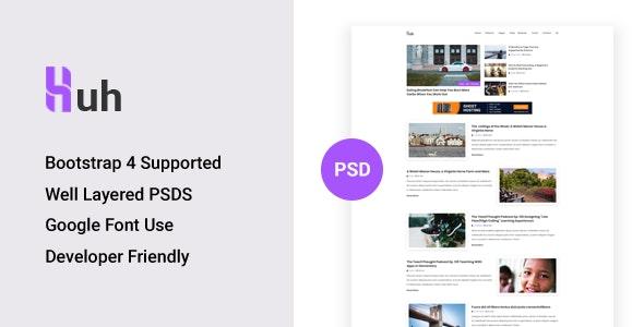 Huh - Minimal Blog PSD Template - Retail Photoshop