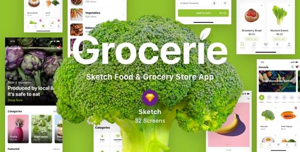 Grocerie - Sketch Food & Grocery Store App - Sketch UI Templates