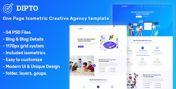 DIPTO - One Page Isometric Creative Agency Template - Corporate Photoshop
